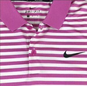 Nike Golf Victory Dri Fit Pink Stripe Polo Golf Shirt 891239-623 $55 Medium