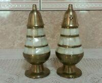 Vintage Mother Of Pearl & Brass Salt & Pepper Shakers
