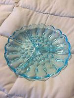 VINTAGE AQUA BLUE GLASS SCALLOP TRIM 3 PART DIVIDED DISH PLATE PLATTER