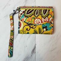 Vera Bradley Tri Fold Wallet Yellow Red Floral Paisley ID Slot