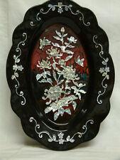 Wand Bild Perlmut oder Kunststoff schillernd Einlagen  Blume Flora schmetterling