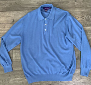 Ralph Lauren Purple Label Mens LARGE 100% Cashmere LS Polo Shirt ITALY