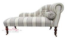 Beautiful Cream & Beige Herringbone Striped  Chaise Longue  **HAND MADE IN UK**