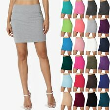 TheMogan Double Layer High Waisted Casual Stretch Jersey Bodycon Mini Skirt