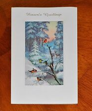 VINTAGE UNUSED DEER BIRDS POP-UP SHADOWBOX Christmas Card ALFRED MAINZER GERMANY