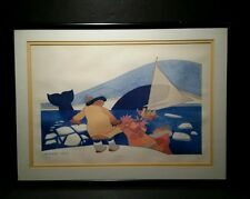Rie Munoz Whale 1979 Lithograph Signed Framed 228/500