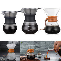Pour Over Coffee Pots with Borosilicate Glass Manual Coffee Dripper Brewer