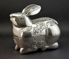 c1920, Fine Large Cambodian Khmer Rabbit Form Repousse Chased Silver Betel Box