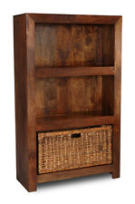 DARK DAKOTA MANGO MEDIUM BOOKCASE WITH RATTAN BASKET (55N&B42)