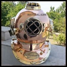 "NAUTICAL ANTIQUE MARK V USA NAVY SOLID BRASS & STEEL DIVING DIVERS 18"" HELMET"