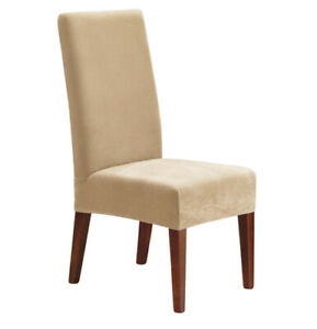 SUREFIT Short Dining Room Chair Slipcover Stretch Pinpoint Cream 1 Piece New