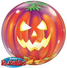 "HALLOWEEN BALLOON 22"" PUMPKIN JACK O' LANTERN SEE THRU QUALATEX BUBBLE BALLOON"