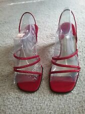 Caparros Red Satin Strappy Slingback Sandals 3in Heels 7B