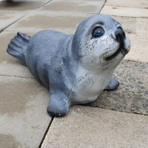 Seehund Robbe 46cm Maritime Garten Deko Figur lebensecht #3606