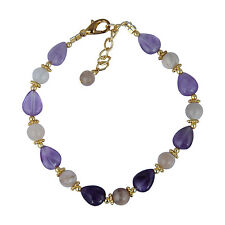 Pearlz Ocean Moon Stone And Amethyst 7 Inch Bracelet For Women With Extension