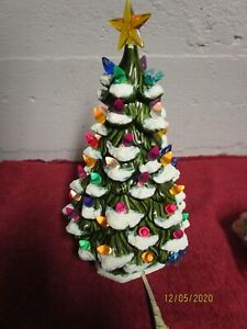 Vintage Green Ceramic Christmas Tree with Ornaments 10-11 inches X-Mas