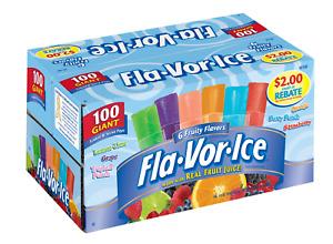 Fla-Vor-Ice Freezer Pops, Gluten & Fat Free Ice Pops, Fruity Flavors 100 – 1.5