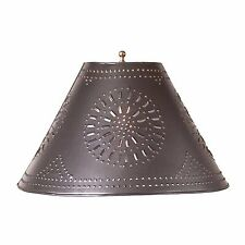 "Country new 16"" Smokey black punched tin flare lamp shade / nice"