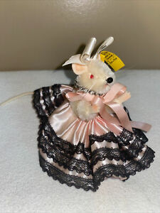 VTG 1960's STEIFF PIEPS MOUSE IN PINK LACE DRESS W/ RED EYES AND BLING NECKLACE