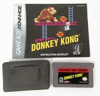 Donkey Kong Classic GBA Nintendo Game Boy Advance Cartridge and Manual