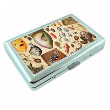 Vintage Fishing D3 Silver Cigarette Case / Metal Wallet Card Money Holder
