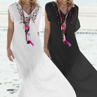 Bohemia Women Summer Holiday Floral Maxi Dress V-neck Beach Long Kaftan Size8-26