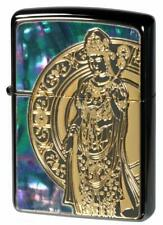 Zippo Oil Lighter Green Blue Shell Inlaying Goddess Of Mercy Black Nickel Gold