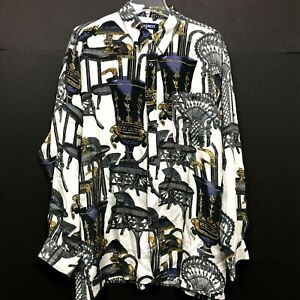 Everest 100% Silk Vintage Blouse Top Theater Pattern Chair Vase Womens Large
