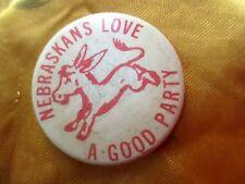 """Vintage 50s 60s 1.75"""" NEBRASKA DEMOCRATIC PARTY Pinback Donkey Button"""