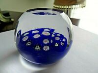 Vintage Murano Art Glass FACETED Millefiori Rose Paperweight Cobalt Blue