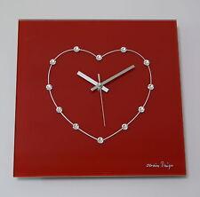 Design Herz Uhr original Swarovski Elements Glas rot silber Funk Wanduhr Herzuhr