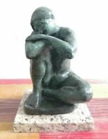 "MANOLO HUGUE BRONZE SCULPTURE ""KNEELING WOMAN"" SIGNED AND NUMBERED"