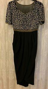 Virgos Lounge Black Vilma Embellished Party Bridesmaid Wedding Midi Dress 8 & 10