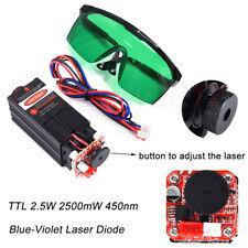 Blue Laser Module 2.5W 2500mW 450nm TTL Driver Board+Goggles For CNC 3018 PRO