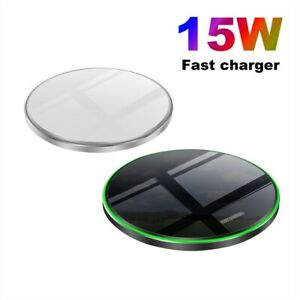 Fast 15W Qi Wireless Charger Charging Pad Mat For iPhone 11 8 XS Samsung S20 S10