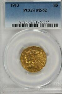 1913 $5.00 Gold Indian Head Half Eagle  :  PCGS MS62