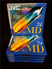 JVC 74 Minute Recordable Blank Minidiscs MD 5 Disc Pack Crystal Blue Mini Discs