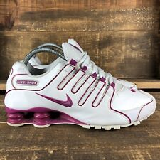 Women's Nike Shox NZ White Pink Leather Athletic Shoes Size 8.5
