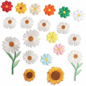 Embroidered Daisy Flower Sticker Sew Iron On Clothes Bags Patch Appliques Bad_yk