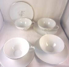 ROYAL ELEGANCE Creative CUP & SAUCER SETS (4 Pair) Gray Tulips JAPAN