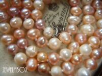 VINTAGE REAL RAINBOW BAROQUE PEARL 925 MARKED CLASP NECKLACE SPECIAL GIFT