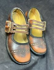 Vintage Child Children's Dress Shoes Size 7 1/2 Faux Faded Leather Buckle Up