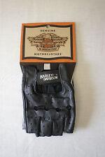 Harley-Davidson Men's Vintage Black Leather Open Tip Gloves Medium 98159-81V