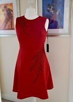 Tommy Hilfiger Womens Embellished Fit & Flare Dress Red US Size 6 UK Size 8-10