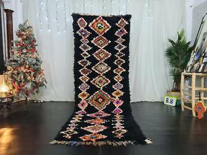 "Vintage Moroccan Handmade Runner Rug 3'2""x9'3"" Berber Geometric Black Cotton Rug"