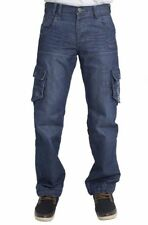 Mens Jeans Enzo 267 Designer Branded Cargo Combat Style Pants In Stone Blue 30R