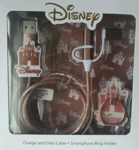 DISNEY CASTLE TECH GIFT SET UNIVERSAL CHARGE DATA CABLE RING ROSE GOLDPRIMARK BN