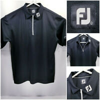 FootJoy FJ Mens Large Golf Shirt Polo Zip Closure Black