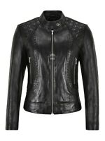 Ladies Real Leather Jacket Black Slim Fit Quilted Fashion Lambskin Jacket 1722