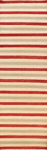 Modern Gabbeh Kashkoli Oriental Runner Rug Hand-knotted Striped Staircase 3'x10'